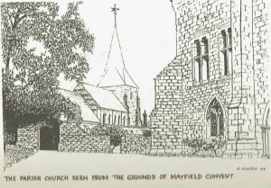 Sketch of St Dunstan's Parish Church seen from Mayfield Convent grounds by Basil Sugden