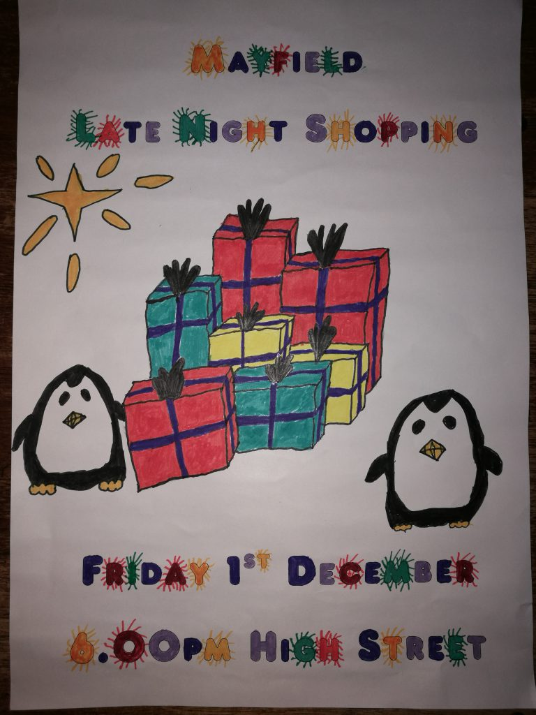 Winning design by a Cub for the leaflet promoting Mayfield Late Night Shopping 2017