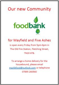 Poster for Mayfield Foodbank showing opening hours Fridays 5 to 6 from March 2018