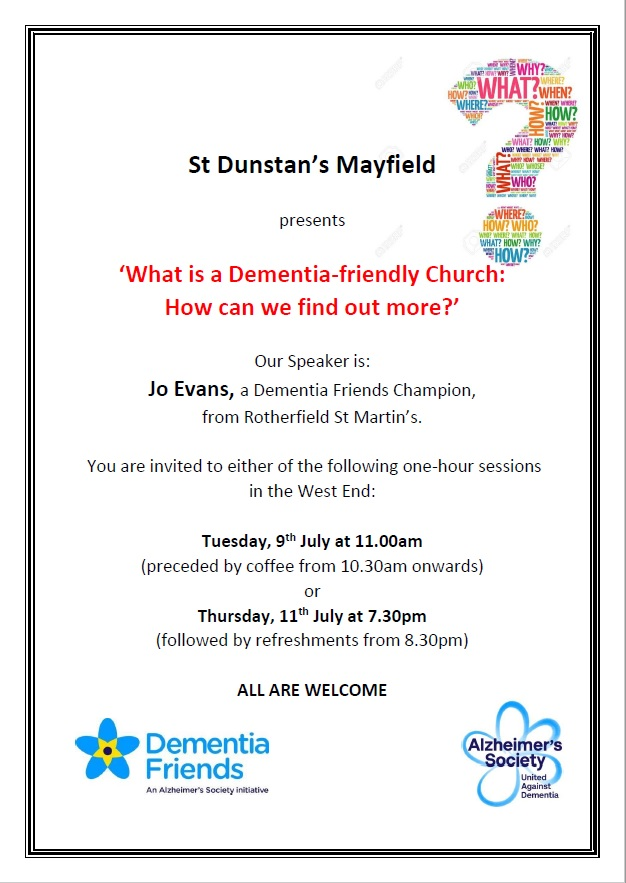 Poster for Dementia Friendly Church discussions July 2019