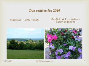 Slide describing Mayfield entering the Large Village category and Five Ashes the Parish in Bloom category