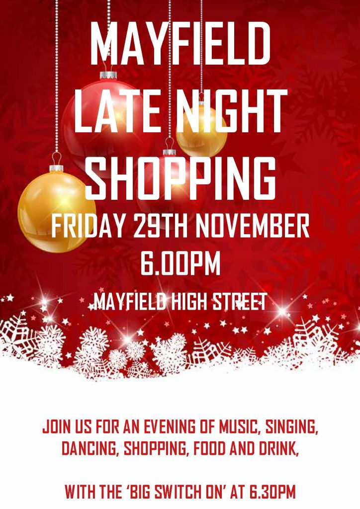 Poster for Mayfield Late Night Christmas Shopping 29 Nov 2019