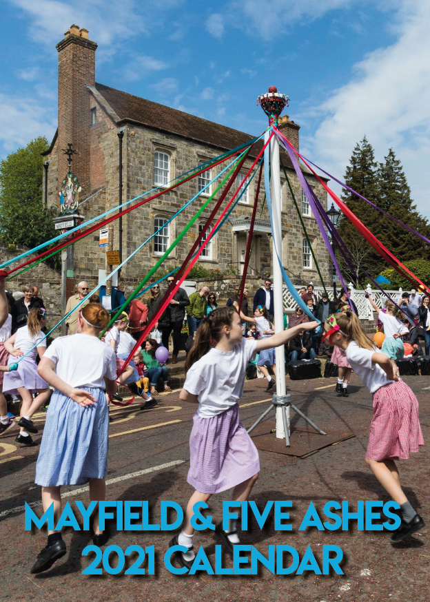 Front cover of the Mayfield & Five Ashes 2021 calendar showing Maypole dancing