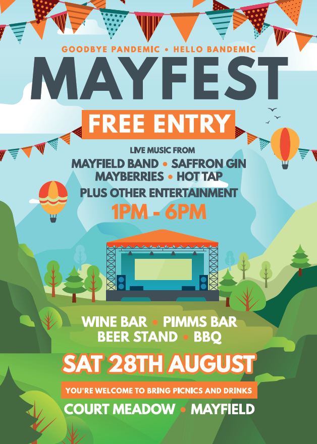 Poster for Mayfest - picnic and free music in Court Meadow on Saturday 28th August